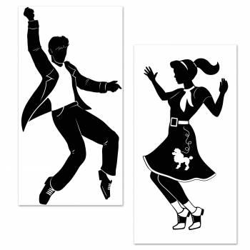 Décor silhouette danseurs Rock n'roll