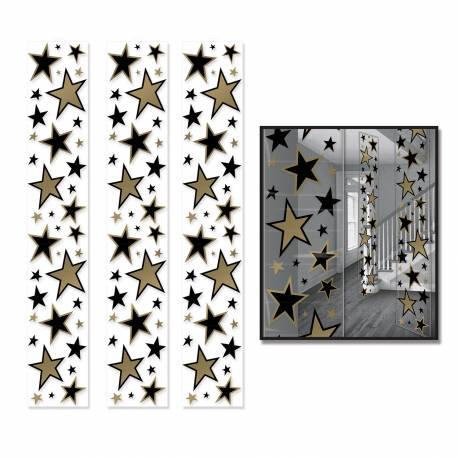3 Décorsétoiles cinéma imprimé sur toile plastique transparente Dimensions : 180 cm x 30 cm fois 3