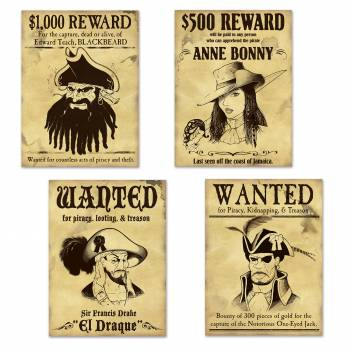 4 Affiches en carton Wanted Pirate