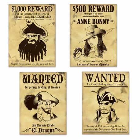 4 Affiches en carton WantedPirate idéal pour la déco d'une soirée thème pirate Dimensions : 35 cm x 30 cm