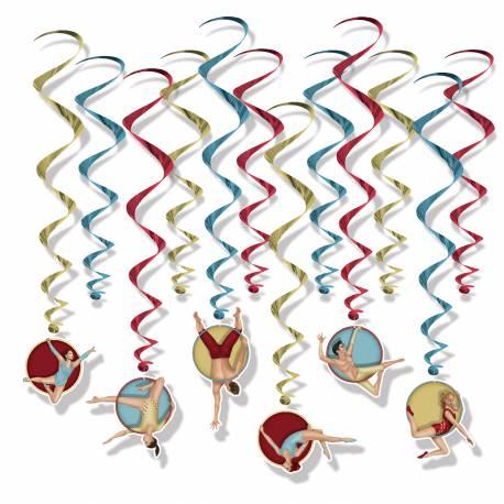 12 suspensions en carton acrobate pour décorer la salle de votre soirée vintage circus Dimesnions : longueur 76cm x L 43cm Impression...
