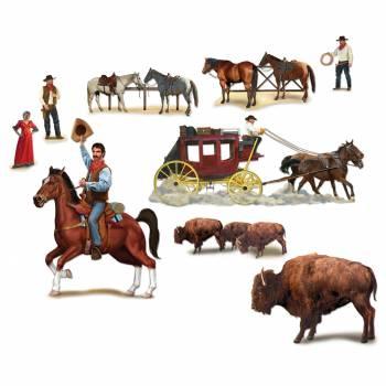 9 Décors western personnages