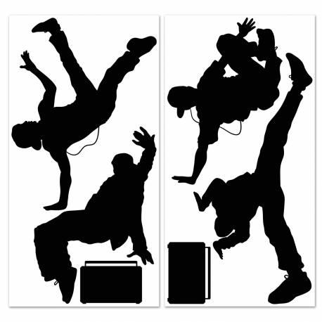 Toile en plastique souple transparent avec impression personnages breaking dance Dimensions : 145 cm x 35 cm fois 2