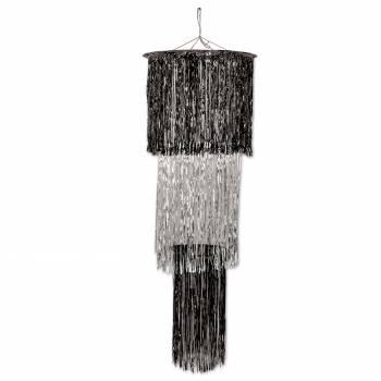 Suspension chandelier métallisé noir/argent