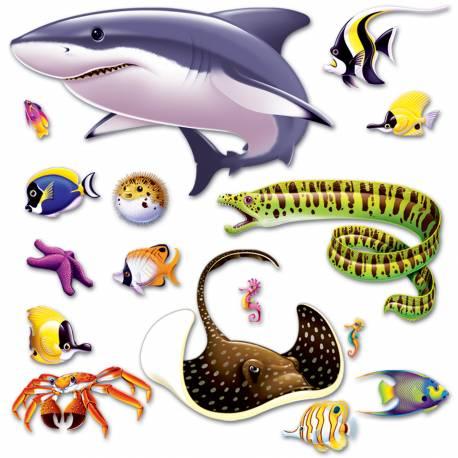 Paquet de 16 décors à fixer sur votre mur pour transformer votre salle de fête d'anniversaire en aquarium Imprimé sur de grandes toiles...