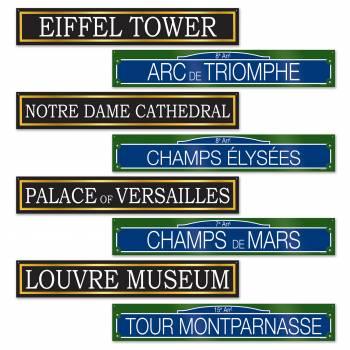 4 Décors pancartes rue et monuments parisien