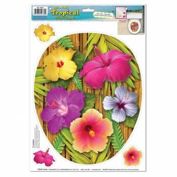 Décor WC Bambou hibiscus autocollant