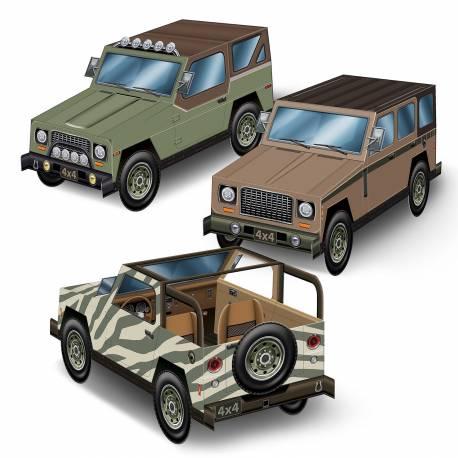 3 Décors en forme de 4x4 safari pour la décoration de votre table sur le thème safari ou voyage autour du monde Matière: carton a...