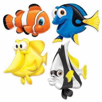 Assortiment 4 poissons exotique rigolos en carton
