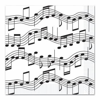 16 Serviettes Note de Musique