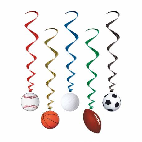 Lot 5 Suspensions Ballons Sport pour créer une belle décoration d'anniversaire à thème à votre enfant. Longueur 100 cm plastique et carton