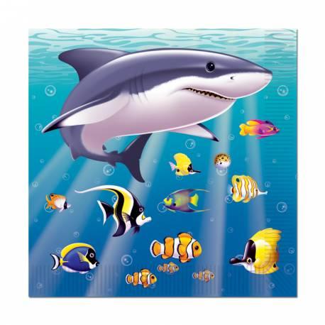 Assiettes à dessert océan pour votre deco anniversaire thème mer. Dimensions : 25 cm x 25 cm
