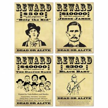 4 Affiches cartonnées Wanted