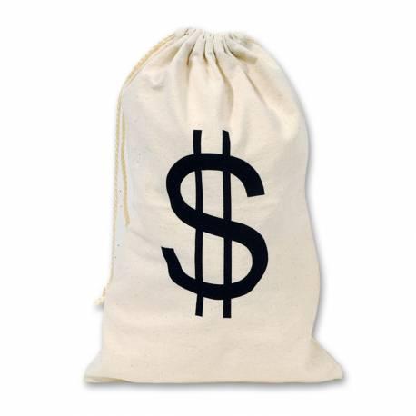 Sac en tissu dollars, idéal pour la décoration de vos soirées à thème western, chicago... Dimensions : 43cm x 28 cm