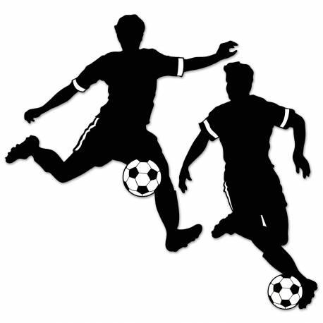 Décor mural silhouette de footballeur pour la décoration de vos salles de fête thème foot. Toile en plastique souple transparent avec...