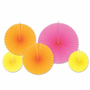 Assortiment 5 suspensions éventail rose/orange/jaune