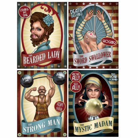 4 Affiches en carton d'artiste pour agrémenter votre décoration de fête sur le thème vintage circus Dimensions : 40cm x 30cm