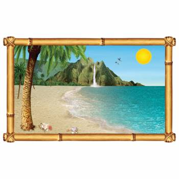 Décor mural fenêtre plage tropicale