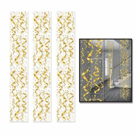 3 Décors serpentins or imprimé sur toile plastique transparente Dimensions : 180 cm x 30 cm fois 3