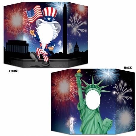 Pour prendre des photos inoubliables de vos invités ! Point photo en carton rigide sur le thème USA, recto verso, un côté statue de la...