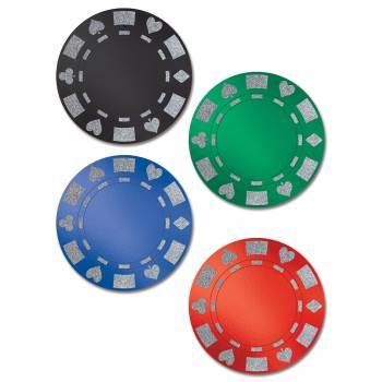4 Décors en carton pailleté jetons de poker