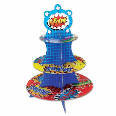 Superbe stand à gâteaux en carton rigide à monter très facilement pour votre deco anniversaire. Dimensions : Hauteur 34 cm x plateau du...