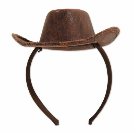 Serre tête mini chapeau cow boy pour les soirées country
