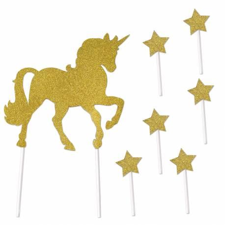 Cake topper licorne or pailleté en carton pour un thème d'anniversaire licorne fantasy Idéal pour faire une décoration rapide et chic de...