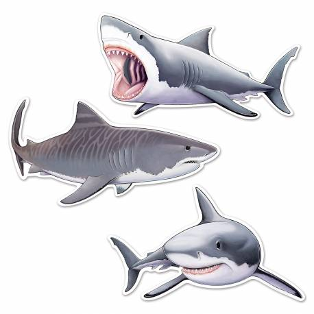 Assortiment de 3 requins à fixer sur vos murs pour la décoration de vos salles de fête. Dimensions : 55 cm et 60 cm