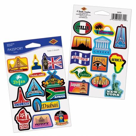 24 Stickers passeport à coller sur vos invitations, nappe en papier, serviettes... Lot de 2 planches Dimesnions planches : 10cm x 15cm