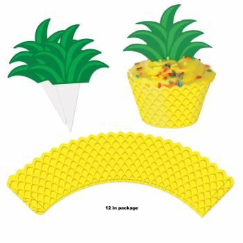 12 Deco pour cupcakes Ananas