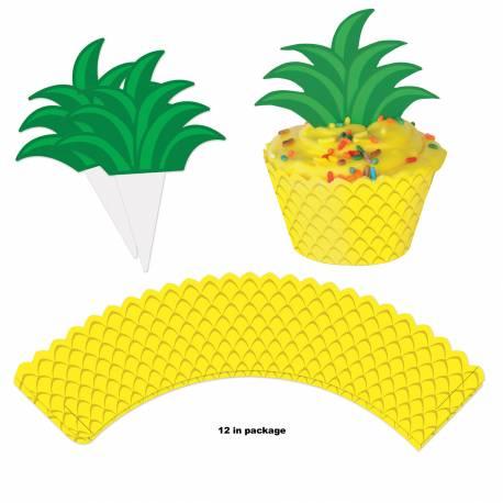 12 Wraps cupcakes Ananas + pics deco