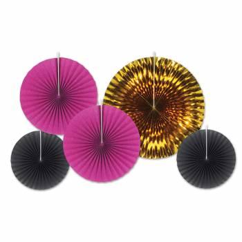 5 décors suspensions éventail or/fuschia/noir