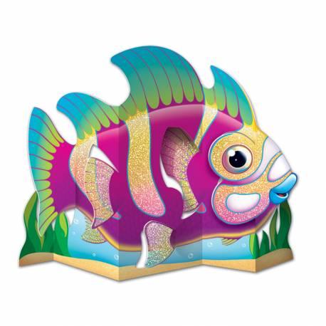 Centre de table poisson tropical en carton avec paillettes pour décorer vos fêtes à thème océan. Recto verso Dimensions : 33 cm