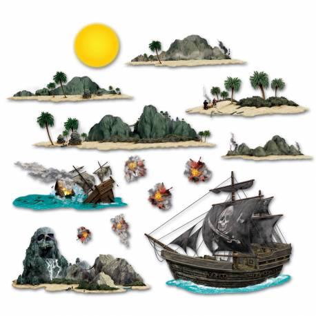 Décors muraux en plastique souple imprimés pour une ambiance Pirate Lot de 14 décors différents Dimensions: Soleil: 20 cm Navire coulé:...