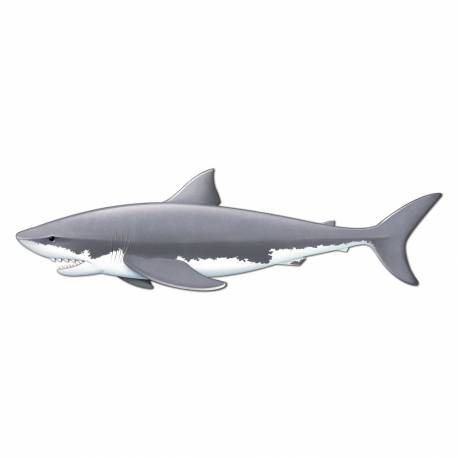Décors requin géant en carton à fixer sur vos murs pour la décoration de vos salles de fête. Dimensions : 180 cm