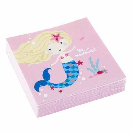 20 Serviettes à dessert en papier Be a mermaid pour la deco de table d'anniversaire sur le thème sirène Dimensions : 25cm x 25cm