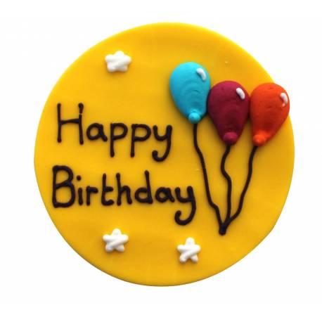 Plaque Happy Birthday en sucre Cirque pour créer une belle décoration d'anniversaire à thème à votre enfant.Dimensions : 7.5 cm