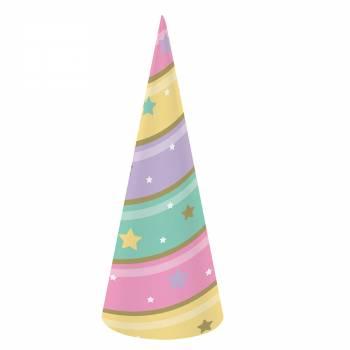 8 Chapeaux de fête corne licorne d'or
