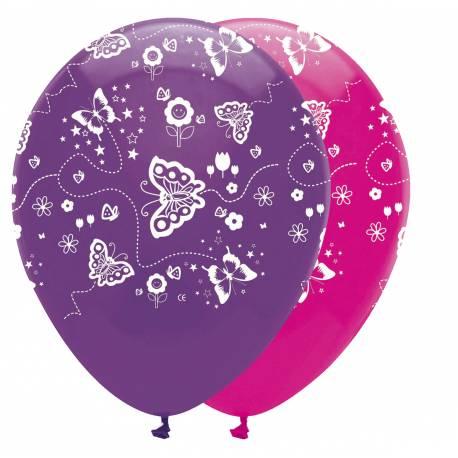 6 Ballons latex Papillons