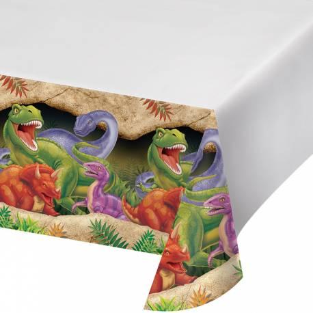 Nappe Dinosaure pour le deco anniversaire de votre enfant. Dimensions: 140 cm x 280 cm Matière en plastique
