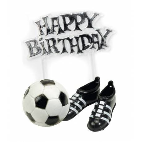 Kit 3 pièces en plastique football pour décorer vos gâteaux. 1 ballon (Ø2.5 cm), paire de boots (3.5 cm), plaque happy birthday (6.5 cm)