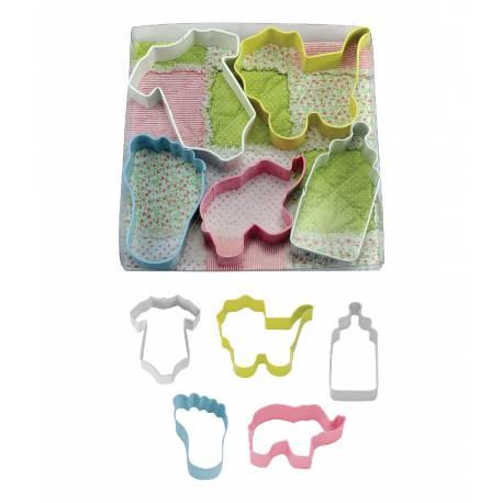 Kit de 5 emporte pièces sur le thème Bébé pour créer vos décorations de gâteau en pâte à sucre ou vos biscuits. Dimensions emporte pièce...