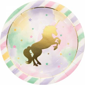 8 Assiettes licorne d'or