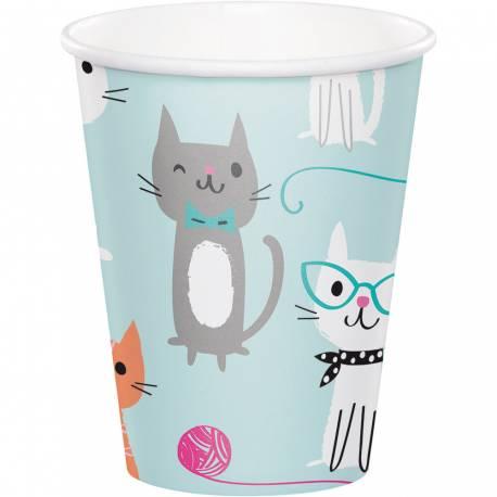 8Gobelets en carton thème chat ronrons pour la deco anniversaire de votre fille. 25cl