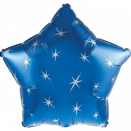 Ballon bleu en aluminium en forme d'étoilepour la deco de vos fêtes d'anniversaire. Ballonpouvant être gonflé avec ou sans hélium (à...