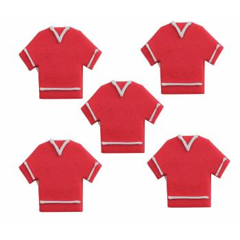 Lot 5 décors en sucre 2D Maillot rouge Football