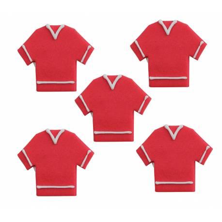 Lot 5 décors en sucre 2D Maillot rouge Football pour créer une belle décoration d'anniversaire à thème à votre enfant.Dimensions : 3.5 cm
