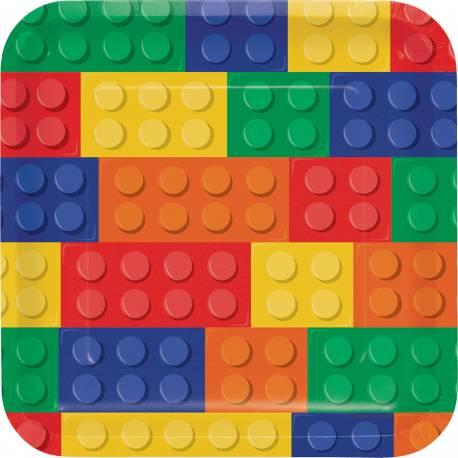 8 Assiettes carrée en carton thème Block party pour la déco anniversaire des passionnés de Lego Dimensions : 23 cm x 23 cm