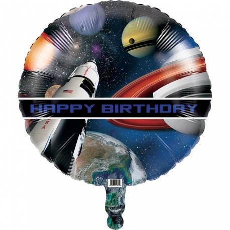 Ballon anniversaire espace en aluminium à gonfler avec ou sans hélium (avec une paille) 46 cm de diamètre